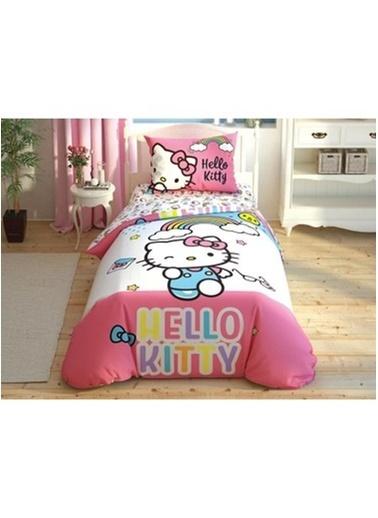 Taç Lisanslı Nevresim Takımı Hello Kitty Rainbow Tek Kişilik Renkli